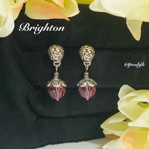 Brighton Earrings Silver Pink Faceted Swarovski Crystals Post Drop Dangle
